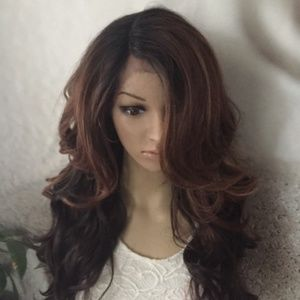 Dark brown and light brown lace front wig
